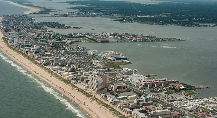 Aerial view of Ocean city, beach, and bay