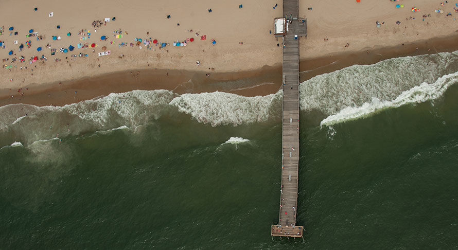 High overhead view of OC fishing pier and beach