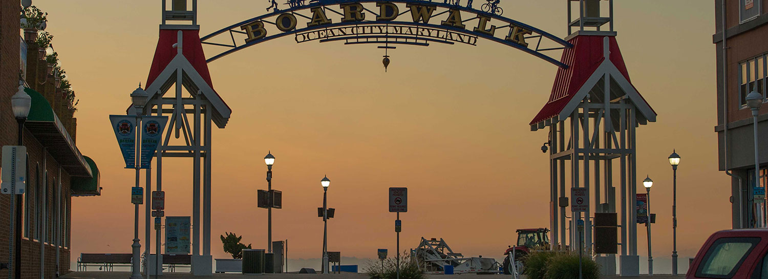 The famous OC, MD BOARDWALK entrance sign welcoming visitors